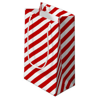Red and White Candy Striped Small Gift Bag
