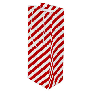 Red and White Candy Striped Wine Gift Bag