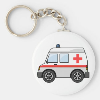 Red and White Cartoon Ambulance Basic Round Button Key Ring