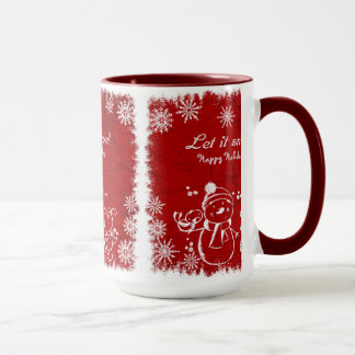 Red And White Chalk Snowman-Let It Snow Mug