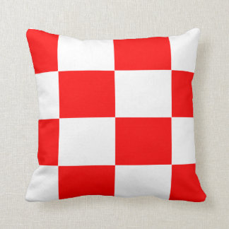 red and white checker board  pattern cushion