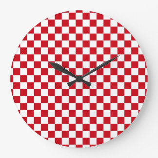 Red and White Checkered Kitchen Clock