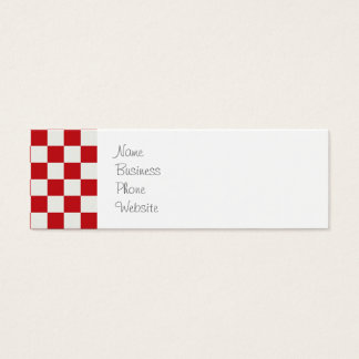 Red and White Checkered Pattern Country BBQ Colors Mini Business Card