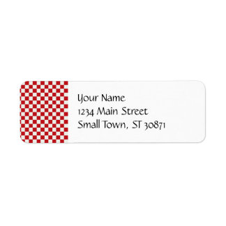 Red and White Checkered Pattern Country BBQ Colors Return Address Label