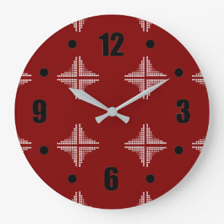 Red And White Checkered Pattern Large Clock