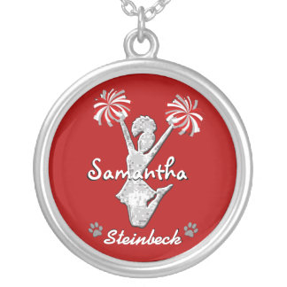 Red and White Cheerleader Necklace with Your Text
