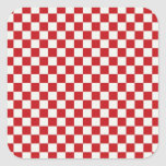 Red and White Chequered Pattern Country BBQ Square Sticker
