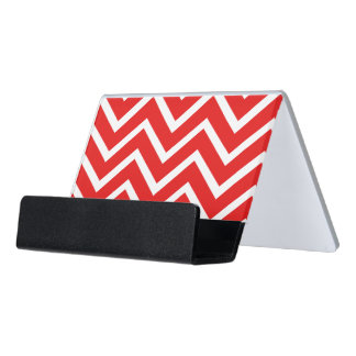 Red and White Chevron Desk Business Card Holder