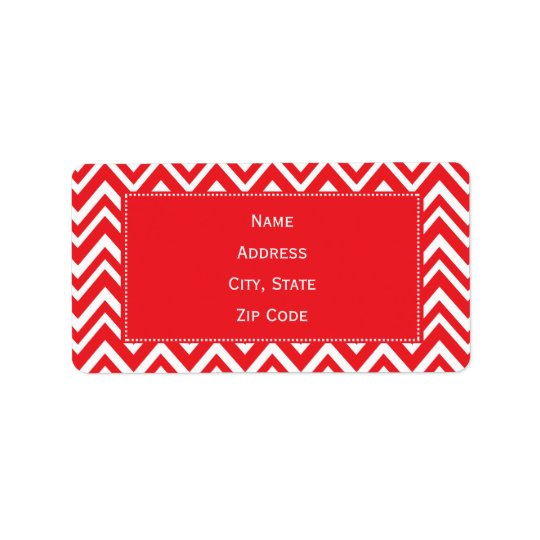 Red and White Chevron Pattern Address Label