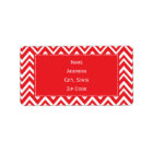 Red and White Chevron Pattern Label