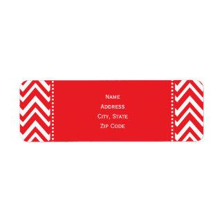 Red and White Chevron Pattern Return Address Label