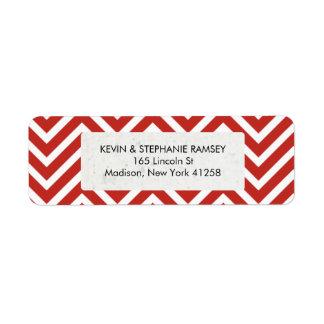 Red and White Chevron Return Address Label