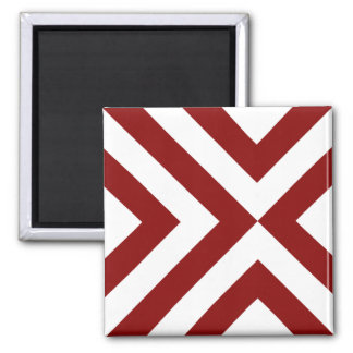 Red and White Chevrons Square Magnet