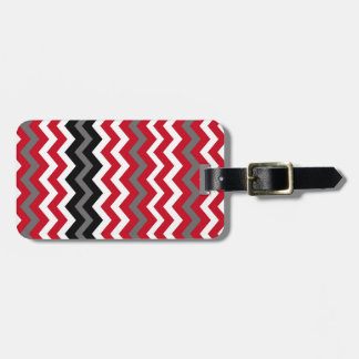 Red and White Chevrons With Gray Luggage Tag