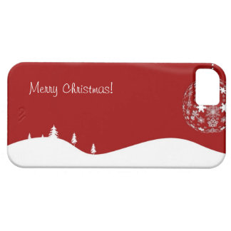 Red and White Christmas Abstract Silhouette iPhone 5 Cases