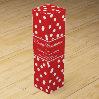 Red and White Christmas Confetti Greetings Wine Bottle Box