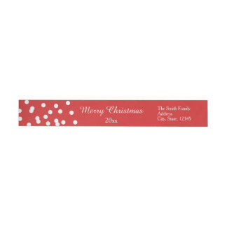 Red and White Christmas Confetti Greetings Wraparound Return Address Label