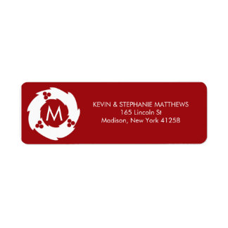 Red and White Christmas Monogram Return Address Label