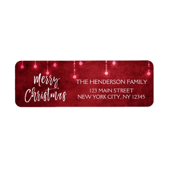 Red and White Christmas Script Holiday Return Address Label