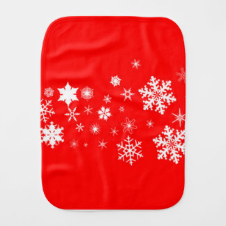 Red And White Christmas Snowflake Banner Burp Cloth