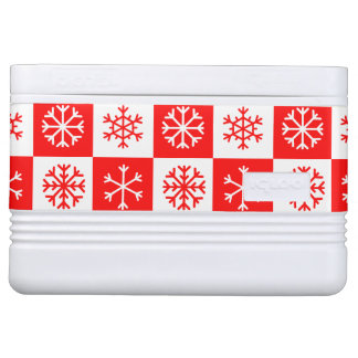 Red and White Christmas Snowflake Checkerboard Cooler