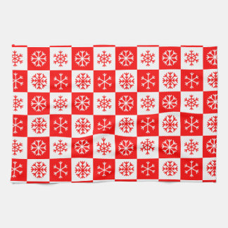 Red and White Christmas Snowflake Checkerboard Tea Towel