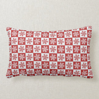Red and White Christmas Snowflake Pattern Lumbar Cushion