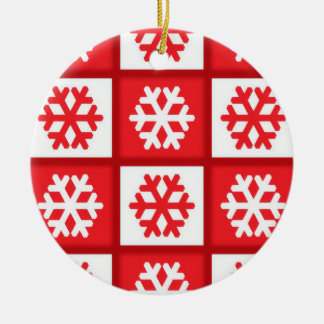 Red and white christmas snowflake pattern ornament
