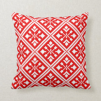 Red and White Christmas Snowflakes Pattern Cushion