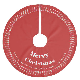 Red and White  Christmas - Your text, Your Names Brushed Polyester Tree Skirt