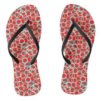 Red and White Circle Pattern Flip Flops