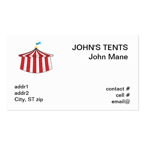 Red and white circus tent business card templates zazzle for Tent business cards