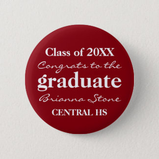 Red and White Class of 2017 Graduation Button