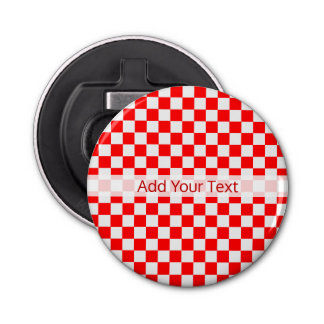 Red And White Classic Checkerboard by STaylor Bottle Opener