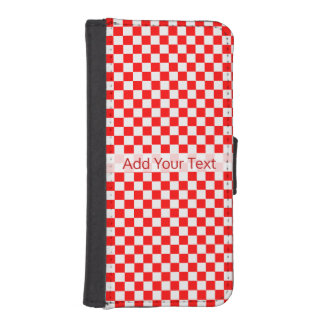 Red And White Classic Checkerboard by STaylor iPhone SE/5/5s Wallet Case