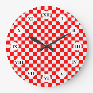 Red And White Classic Checkerboard by STaylor Large Clock