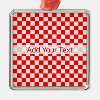 Red and White Classic Checkerboard by STaylor Metal Ornament