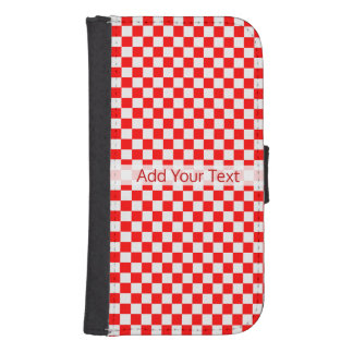 Red And White Classic Checkerboard by STaylor Samsung S4 Wallet Case