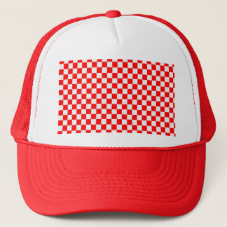 Red And White Classic Checkerboard Trucker Hat