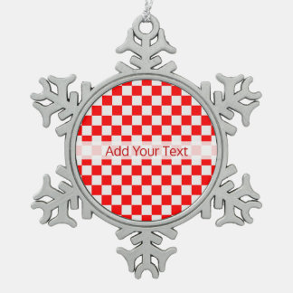 Red and White Classic Chequerboard by STaylor Snowflake Pewter Christmas Ornament