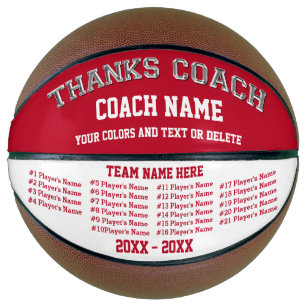 Red and White Coach Personalised Basketball Ball