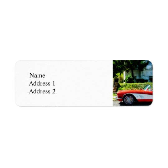 Red and White Corvette Convertible Return Address Label