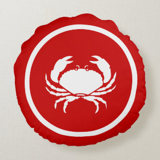 Red  and white CRAB and lobster Round Cushion