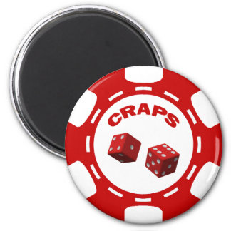 RED AND WHITE CRAPS CHIP MAGNET