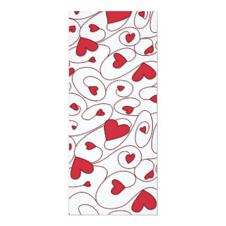 Red and white curly hearts 10 cm x 24 cm invitation card