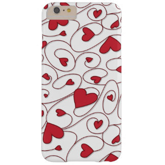 Red and white curly hearts barely there iPhone 6 plus case