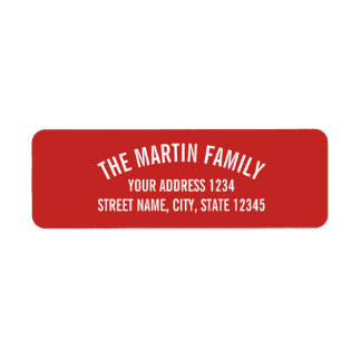 Red and White Curved Bold Text Return Address Label