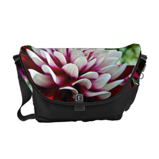 Red and White Dahlia flower Commuter Bags