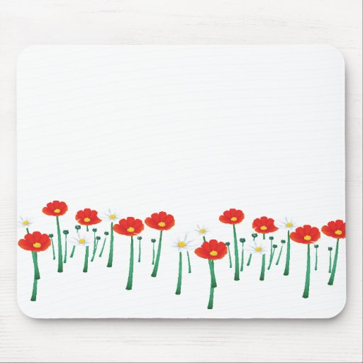 Red and White Daisies Mousepad