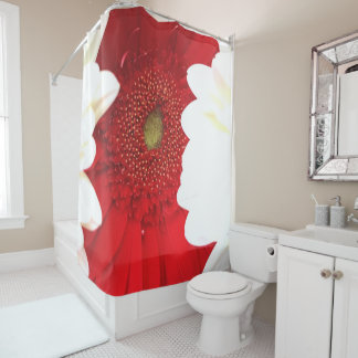 Red and White Dalia 71x71 Shower Curtain